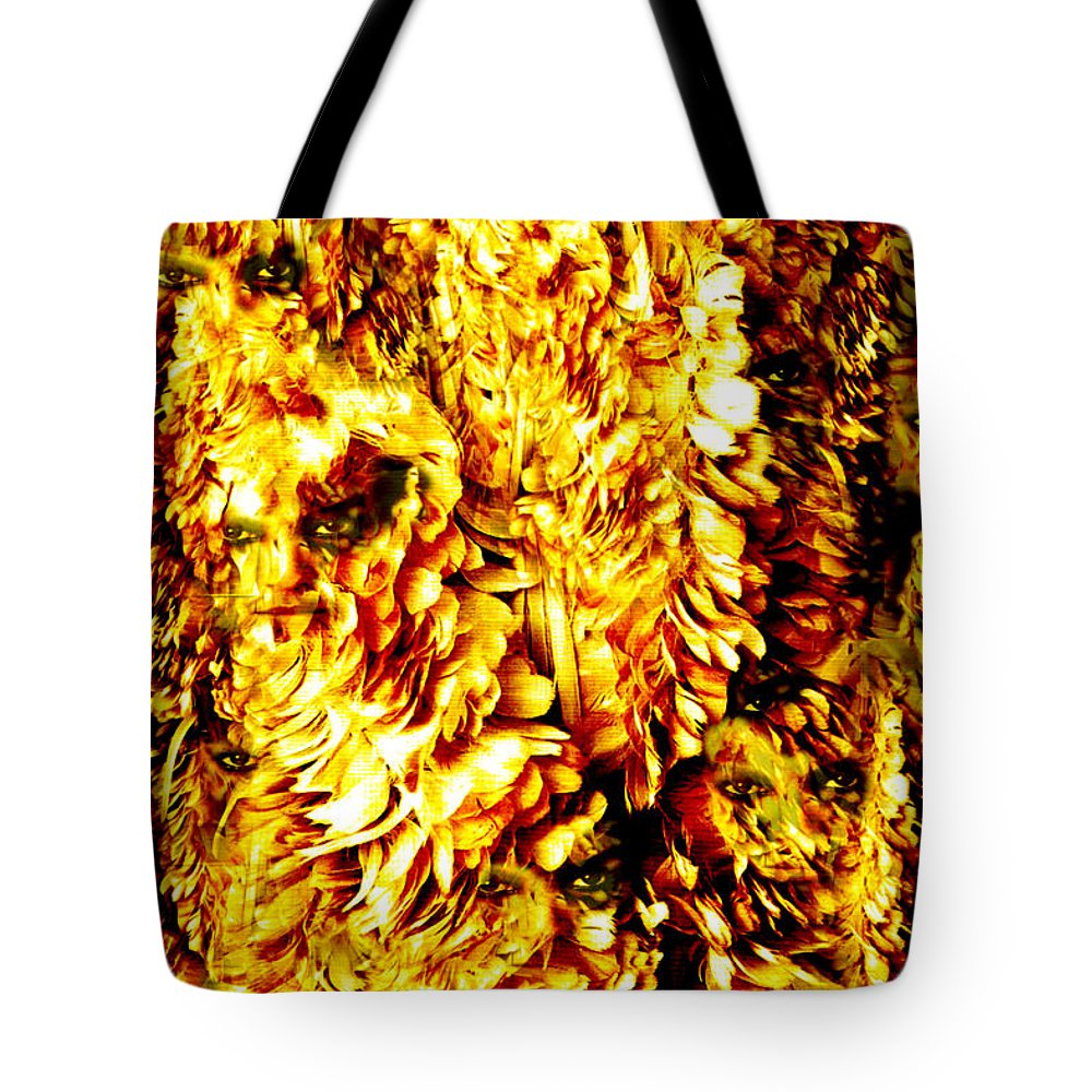 Feathers Tote Bag featuring the digital art Le Flock by Seth Weaver