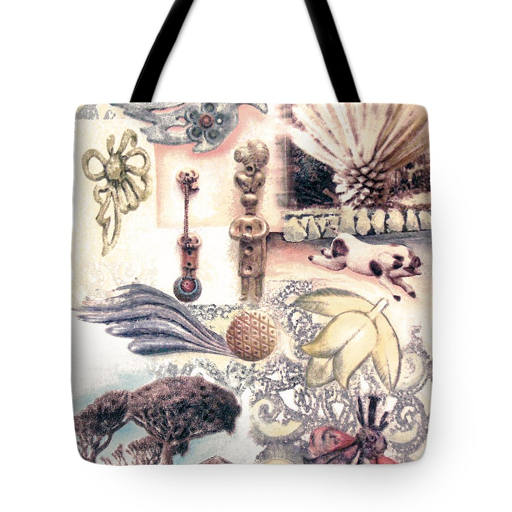 Abstract Tote Bag featuring the painting Le Petite Pig Does Fly by Valerie Meotti