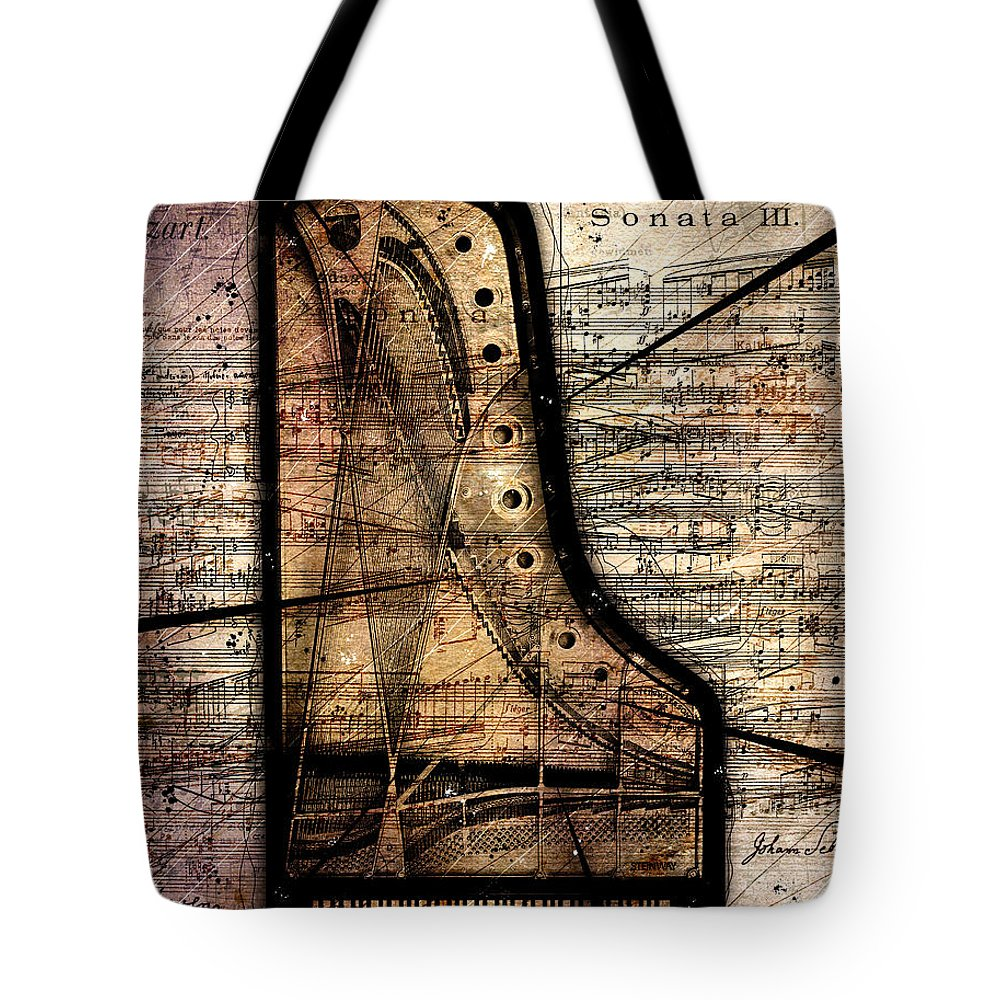 Piano Tote Bag featuring the digital art Le Pianoforte Variation II by Gary Bodnar