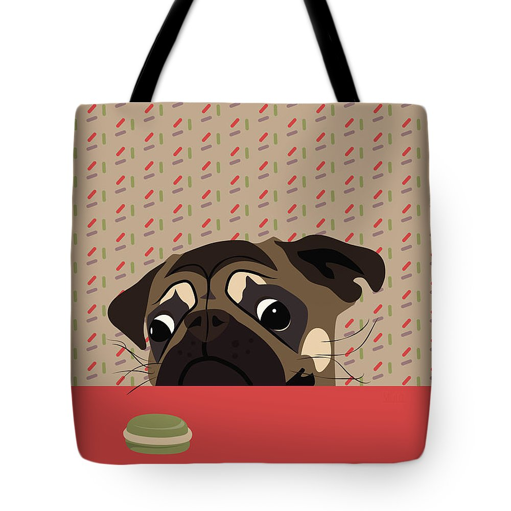 Pug Tote Bag featuring the digital art Le Pug Et Le Macaron by MarthaLilia