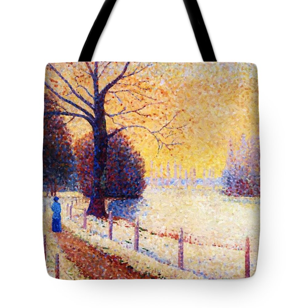 Le Tote Bag featuring the painting Le Puy In The Snow 1889 by DuboisPillet Albert