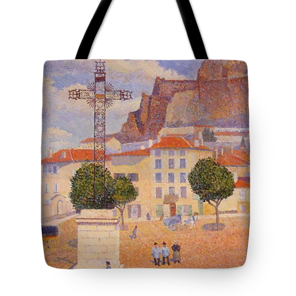 Le Tote Bag featuring the painting Le Puy The Sunny Plaza 1890 by DuboisPillet Albert