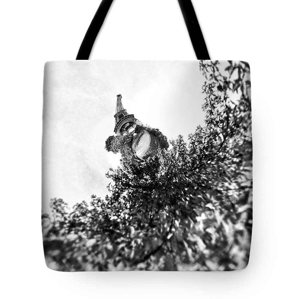 Le Tour Eiffel With A Twist Tote Bag featuring the photograph Le Tour Eiffel... With A Twist by Susan Maxwell Schmidt