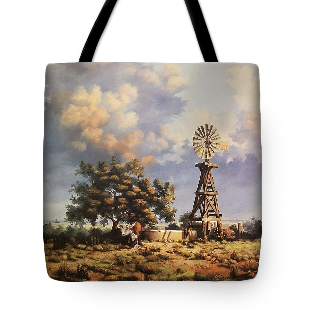 A New Mexico Landscape. Tote Bag featuring the painting Lea County Memories by Wanda Dansereau