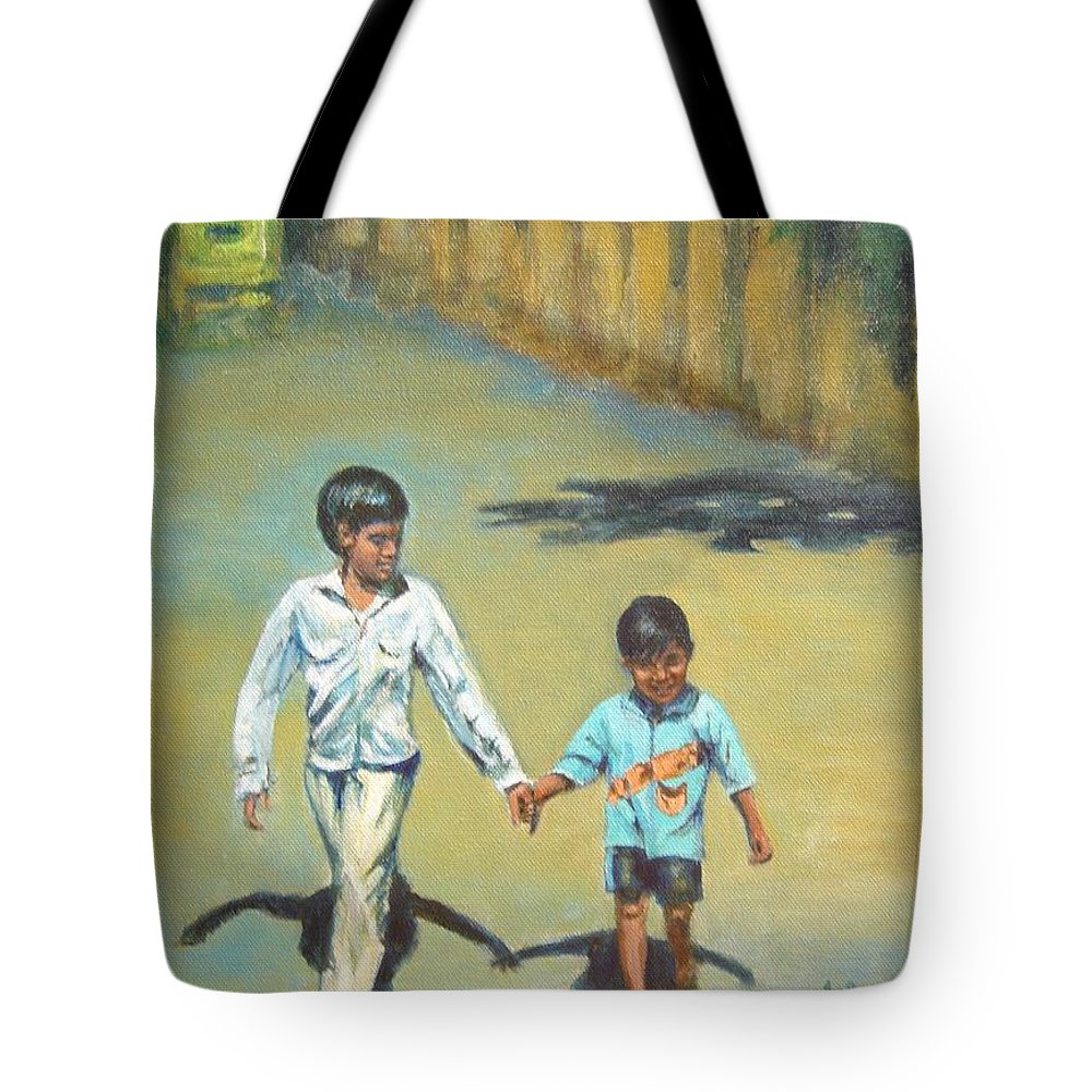 Lead Tote Bag featuring the painting Lead Kindly Brother by Usha Shantharam
