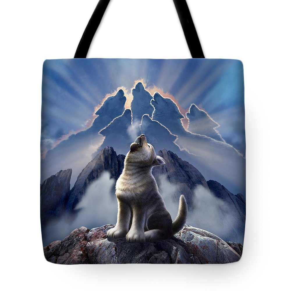 Wolf Tote Bag featuring the digital art Leader of the Pack by Jerry LoFaro