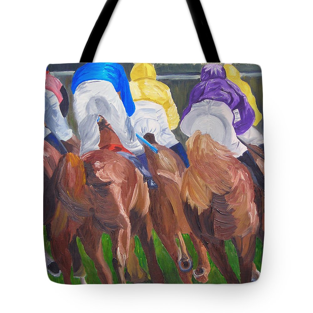 Horse Racing Tote Bag featuring the painting Leading The Pack by Michael Lee