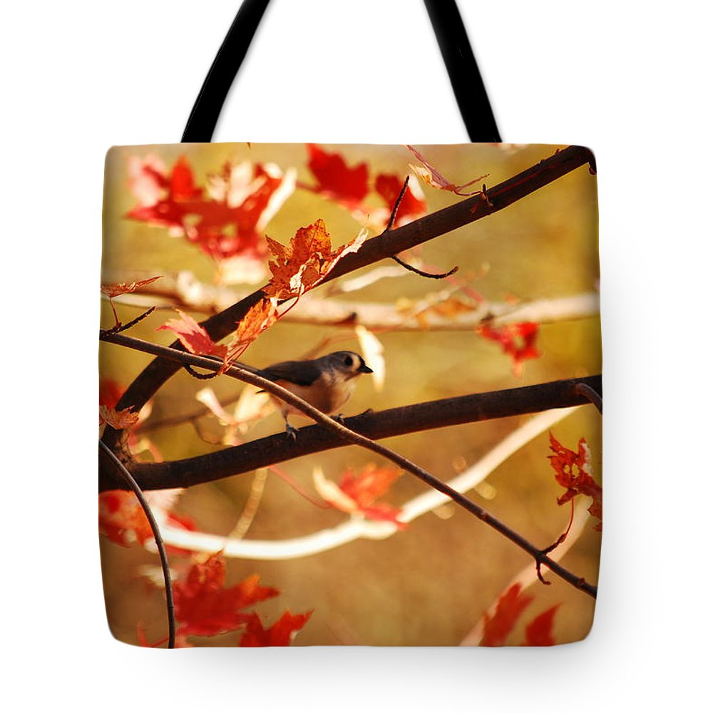 Titmouse Tote Bag featuring the photograph Leaf Me Alone by Lori Tambakis