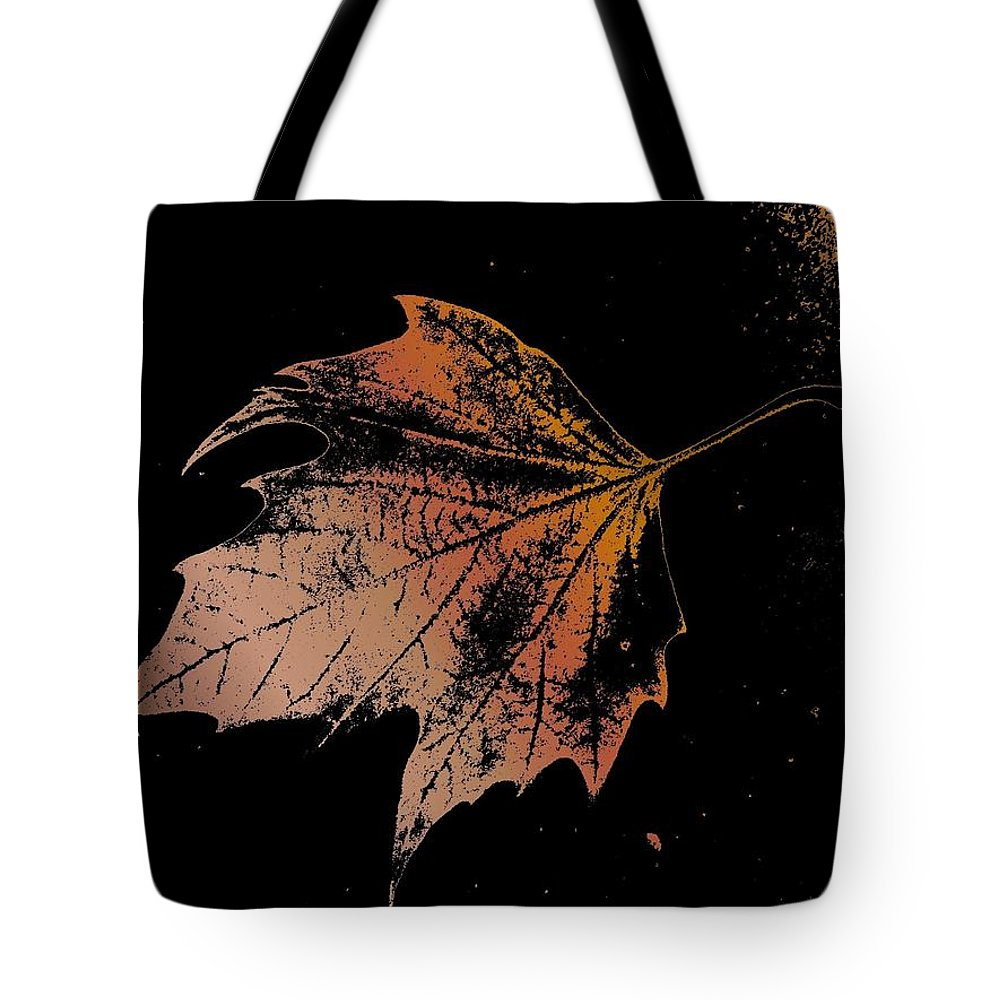 Digital Photo Manipulation Tote Bag featuring the digital art Leaf On Bricks by Tim Allen
