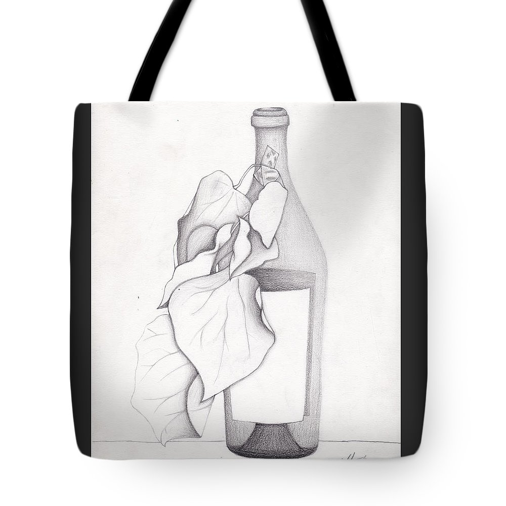Graphite Tote Bag featuring the drawing Leafy Bottle by Tiffini Oman
