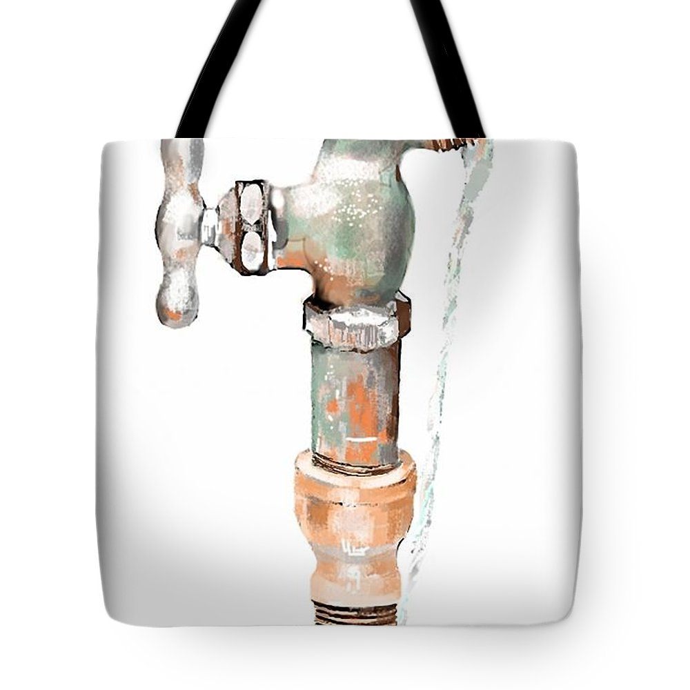 Faucet Tote Bag featuring the digital art Leaky Faucet by Arline Wagner