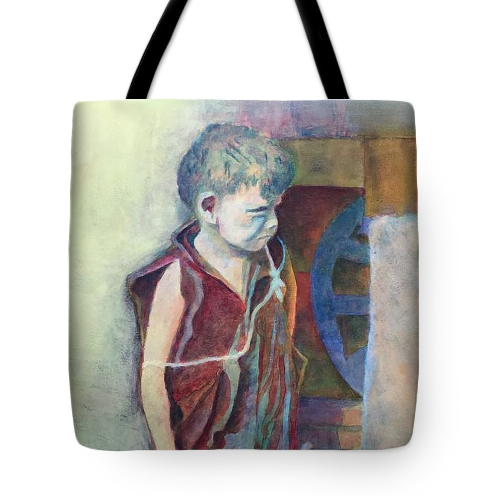 Young Boy Tote Bag featuring the painting Lean Times by Lloyd Goodwin