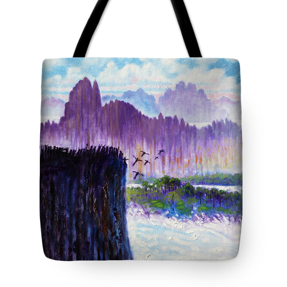 Mountains Tote Bag featuring the painting Leap Of Faith by John Lautermilch