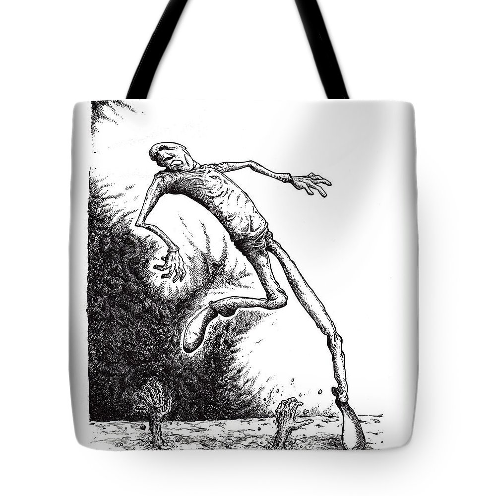 Black And White Tote Bag featuring the drawing Leap by Tobey Anderson