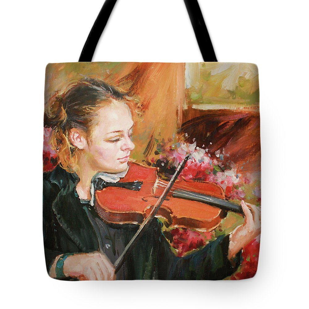 Violin Tote Bag featuring the painting Learning The Violin by Conor McGuire