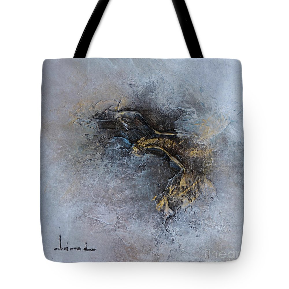 Gold Tote Bag featuring the painting Leave Fear by Carlos Tirado
