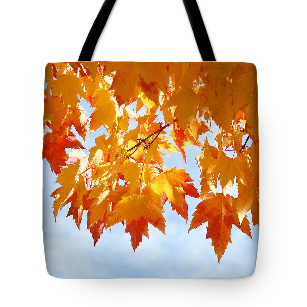 Autumn Tote Bag featuring the photograph Leaves Nature Art Orange Autumn Tree Leaves by Baslee Troutman