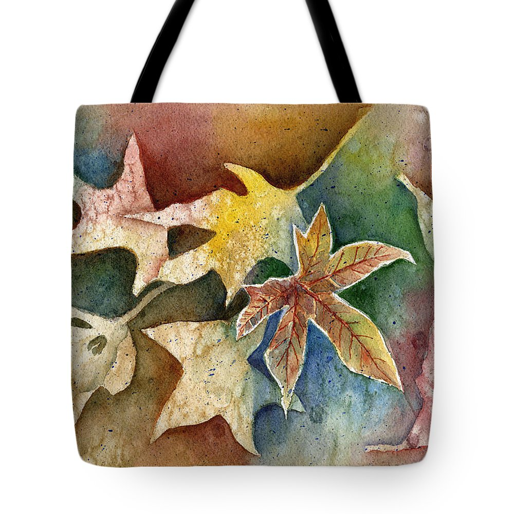 Leaf Tote Bag featuring the painting Leaves Of Autumn by Arline Wagner