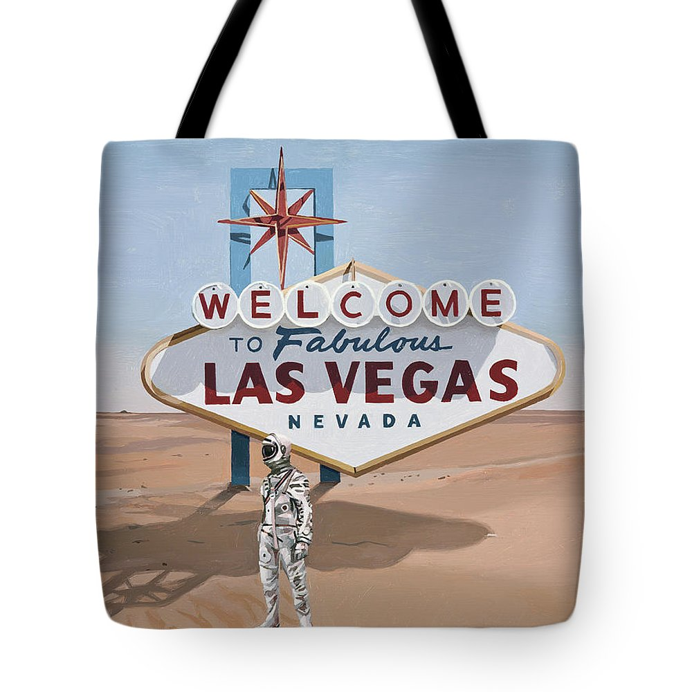 Astronaut Tote Bag featuring the painting Leaving Las Vegas by Scott Listfield