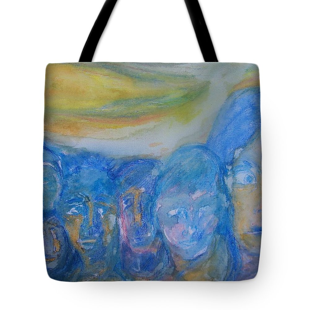Abstract Tote Bag featuring the painting Leaving Our Happy Island For Work In The City by Judith Redman