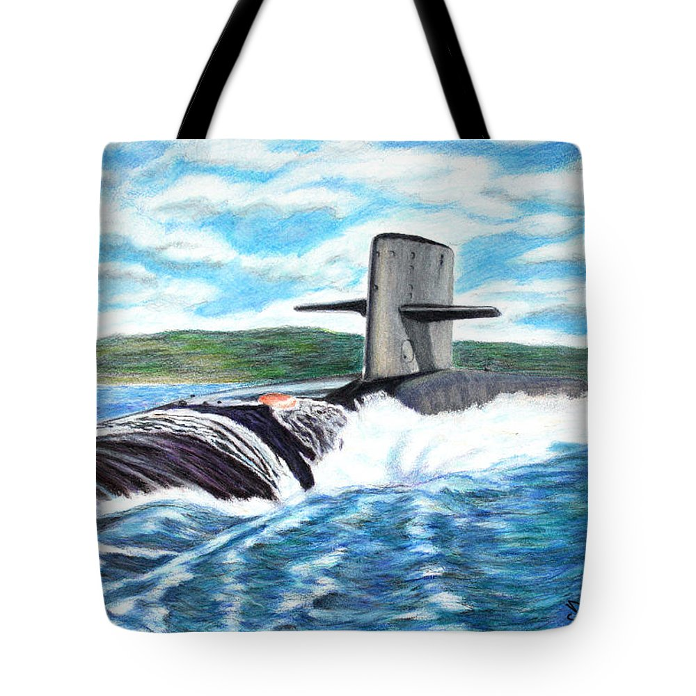 Submarine Tote Bag featuring the photograph Leaving Pearl by Dennis Smith