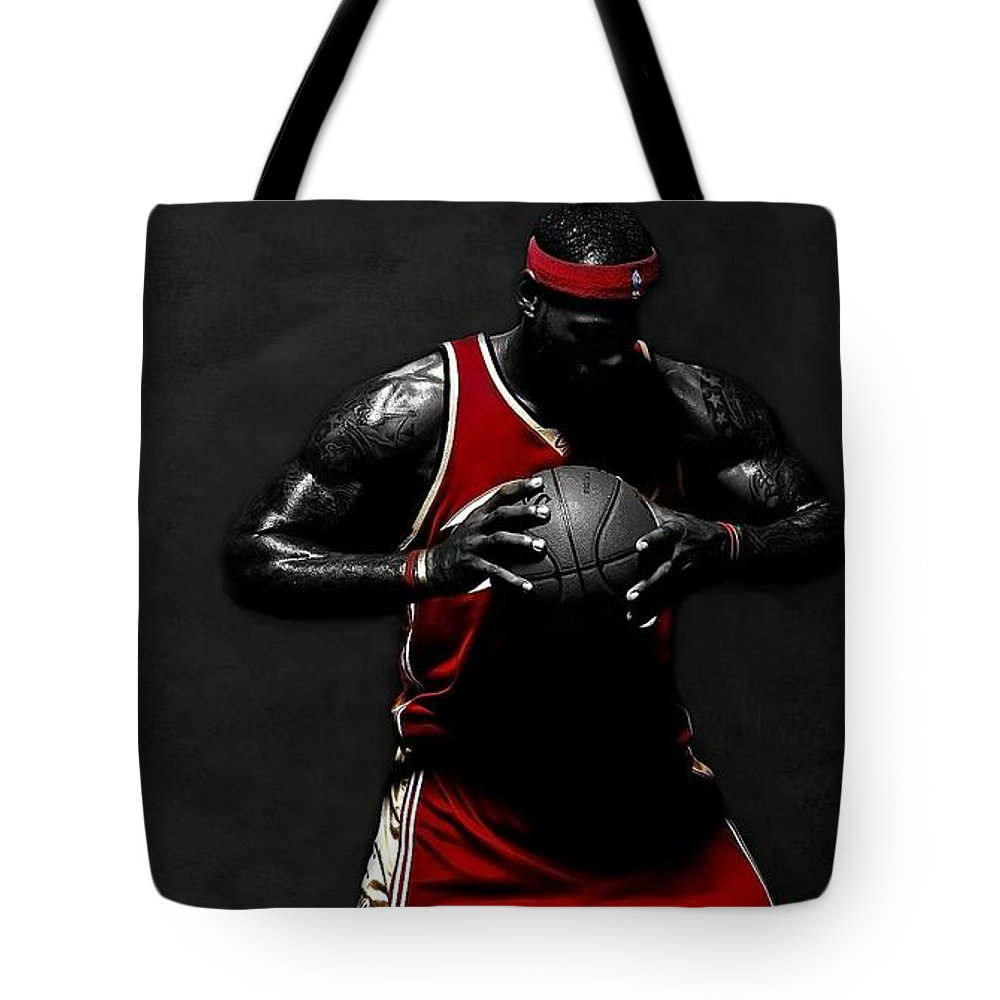 Lebron James Tote Bag featuring the photograph Lebron James by Movie Poster Prints