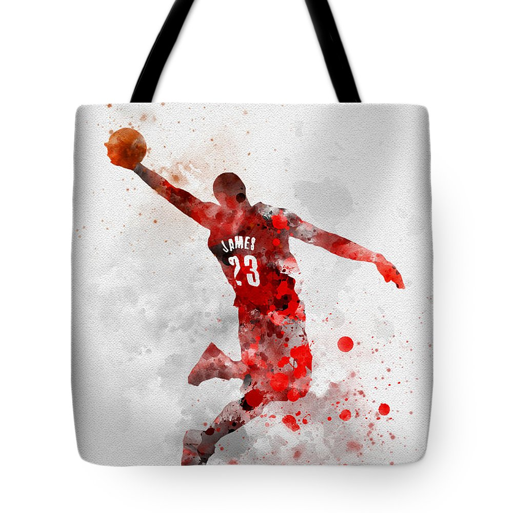 Lebron James Tote Bag featuring the mixed media Lebron James by My Inspiration