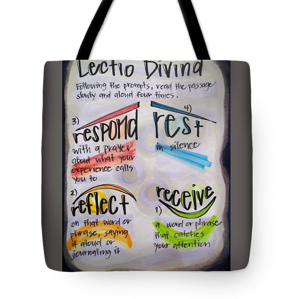 Lectio Divina Tote Bag featuring the painting Lectio Divina by Vonda Drees