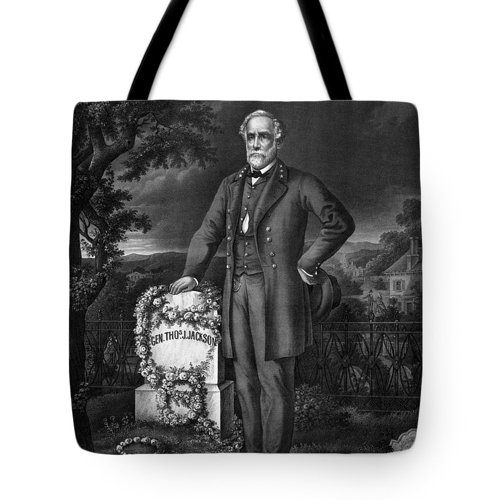 Civil War Tote Bag featuring the drawing Lee Visits The Grave Of Stonewall Jackson by War Is Hell Store