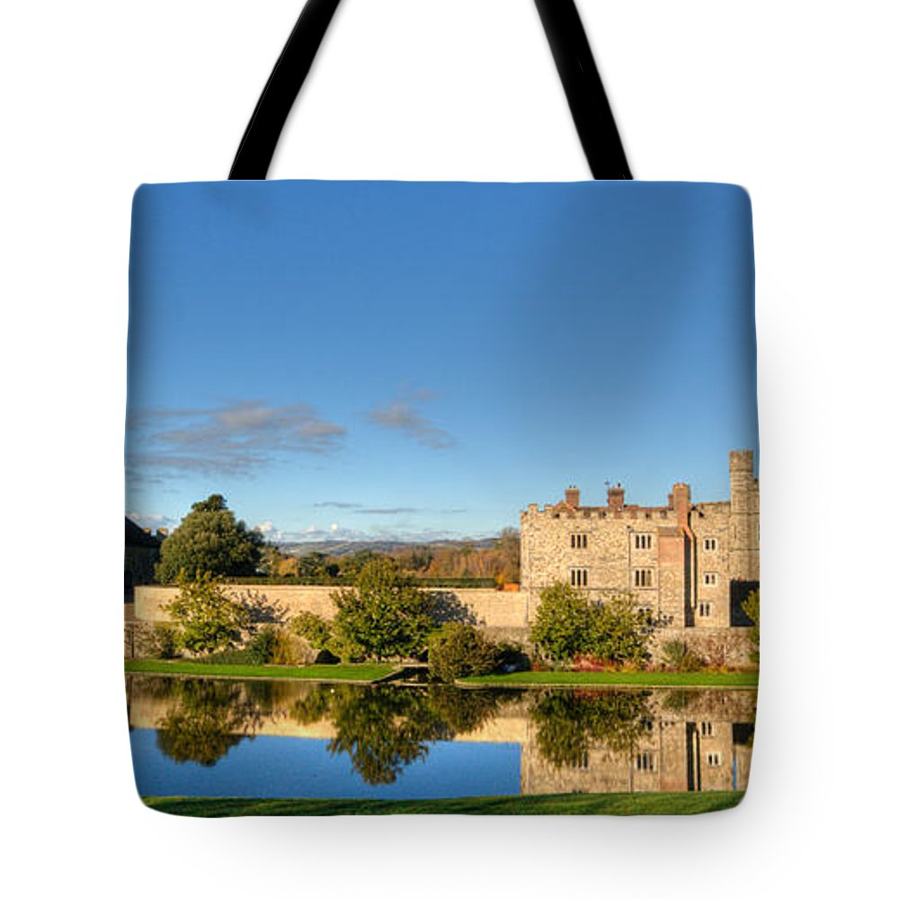 Leeds Castle Tote Bag featuring the photograph Leeds Castle And Moat Reflections by Chris Thaxter