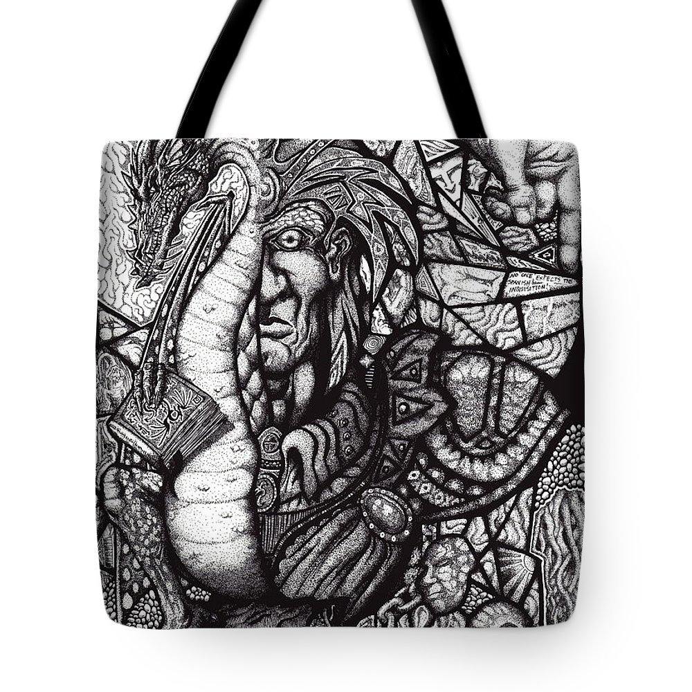 Pen And Ink Tote Bag featuring the drawing Legend by Tobey Anderson