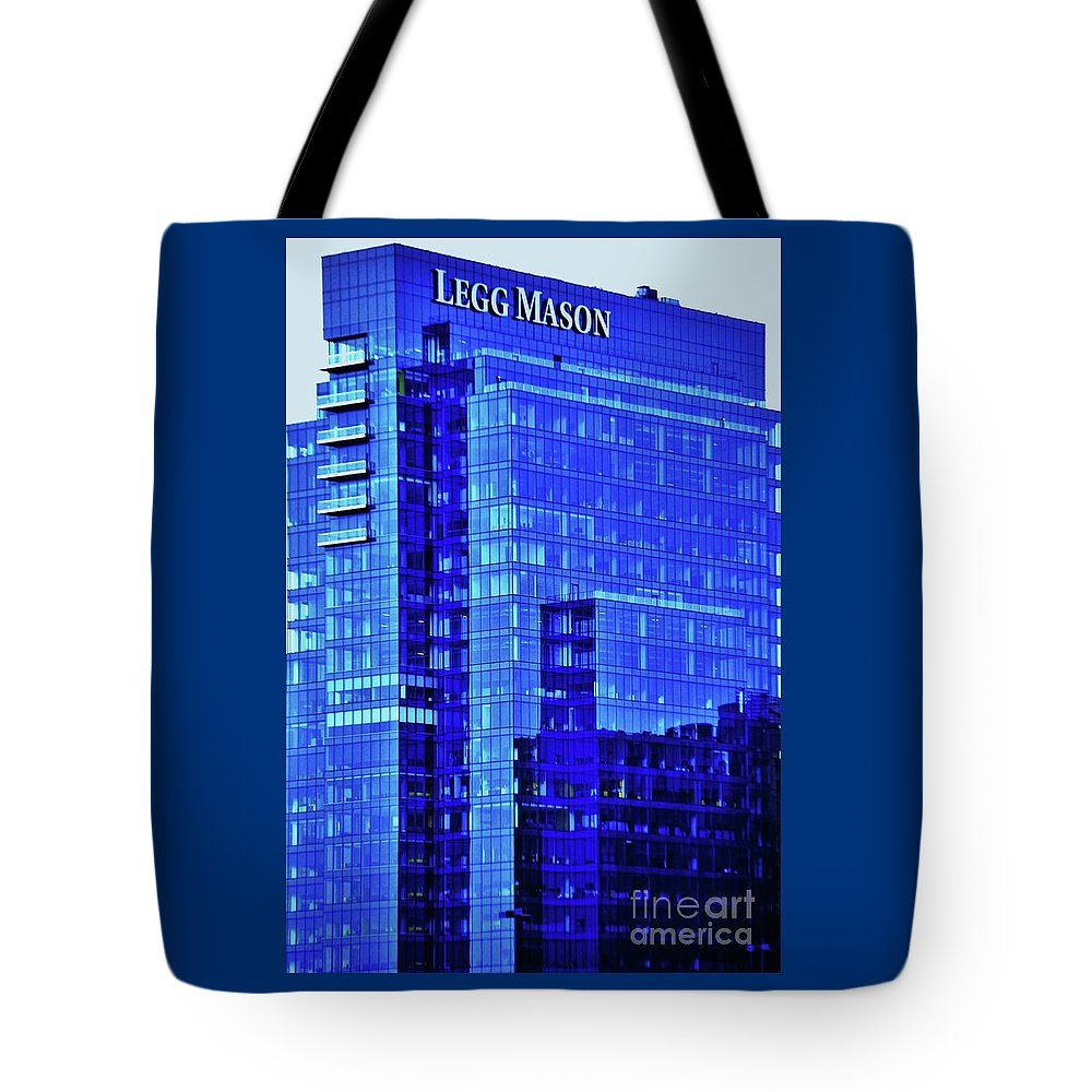 Architectural Art Windows Baltimore Landmark Outdoors Color Blue Office Building Serene Harbor East No One Company Logo Iconic Vertical Vision Reflections Metal Frame Canvas Print Poster Print Available On Greeting Cards Phone Cases T Shirts Tote Bags And Mugs Tote Bag featuring the photograph Legg Mason Blue by Marcus Dagan