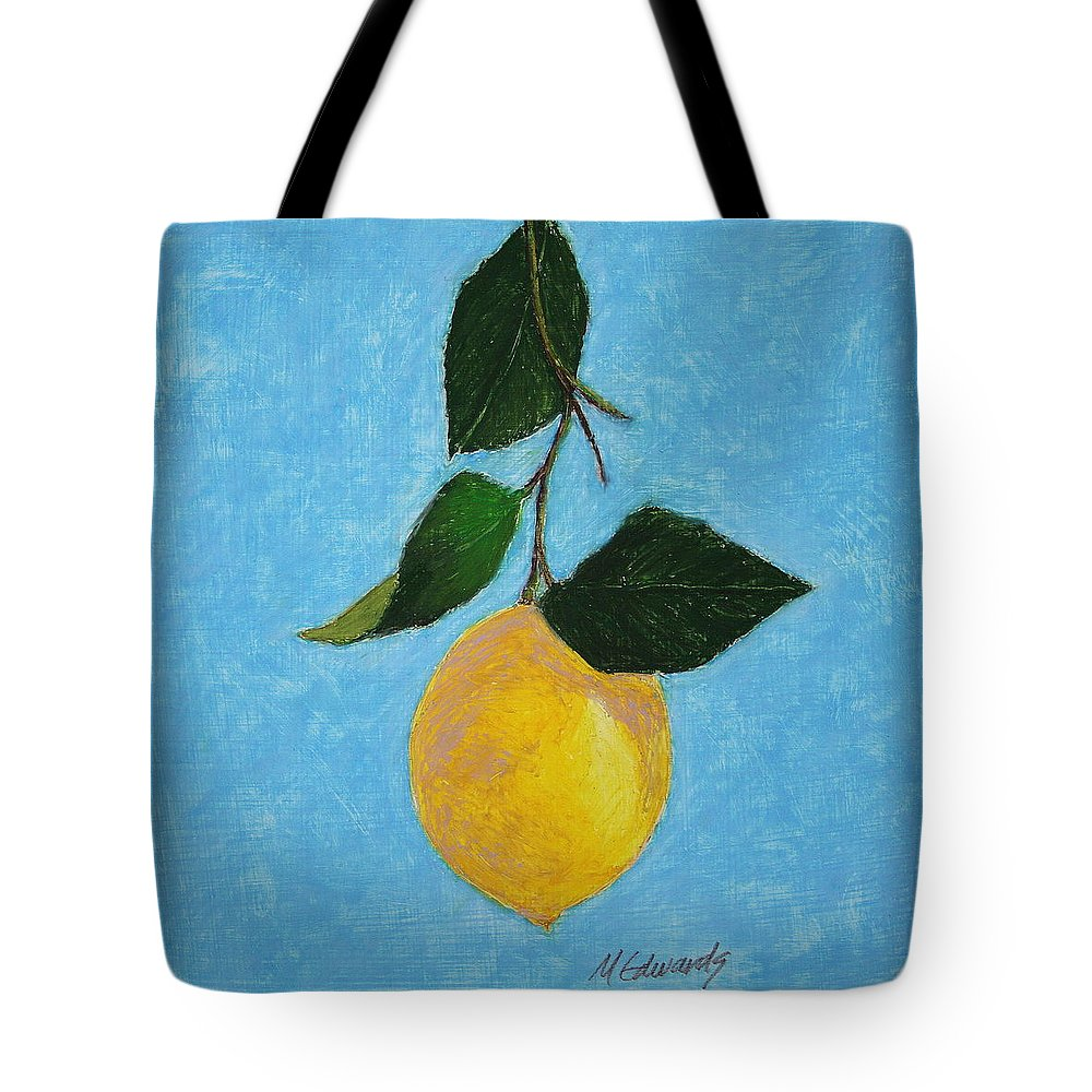 Lemon Tote Bag featuring the painting Lemon Drop by Marna Edwards Flavell