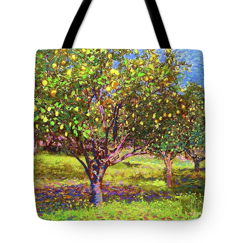 Tree Tote Bag featuring the painting Lemon Grove Of Citrus Fruit Trees by Jane Small