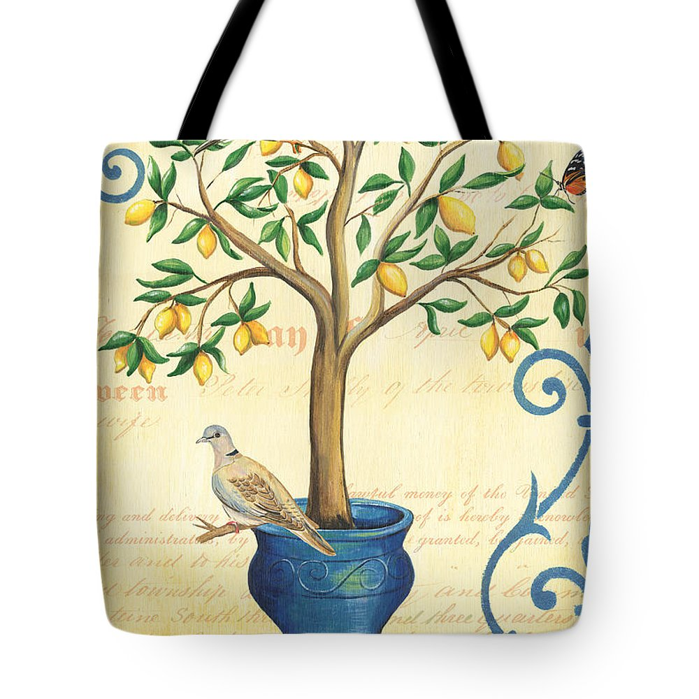 Lemon Tote Bag featuring the painting Lemon Tree Of Life by Debbie DeWitt