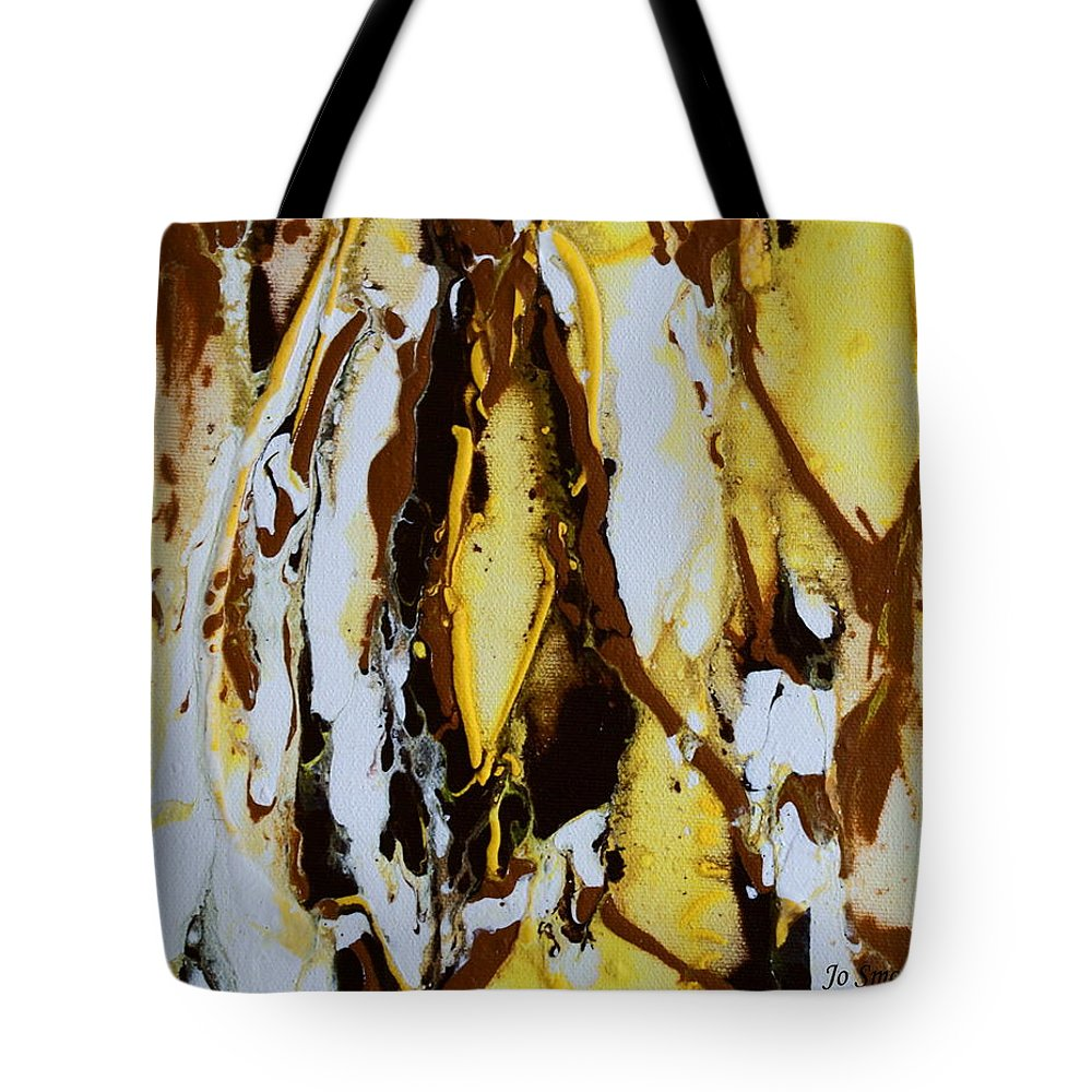 Lemons Ripples Figures Tote Bag featuring the painting Lemon Twist by Joanne Smoley
