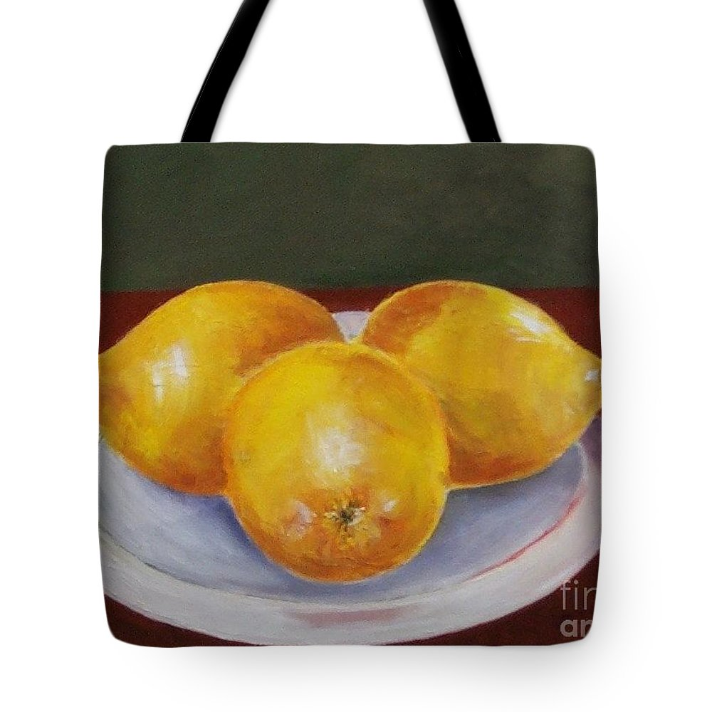 Lemon Tote Bag featuring the painting Lemons by Jeanie Watson