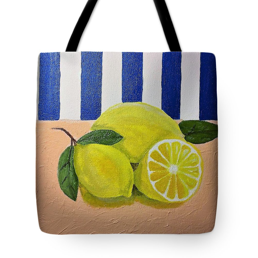Still Life Tote Bag featuring the tapestry - textile Lemons by Terri Huffman