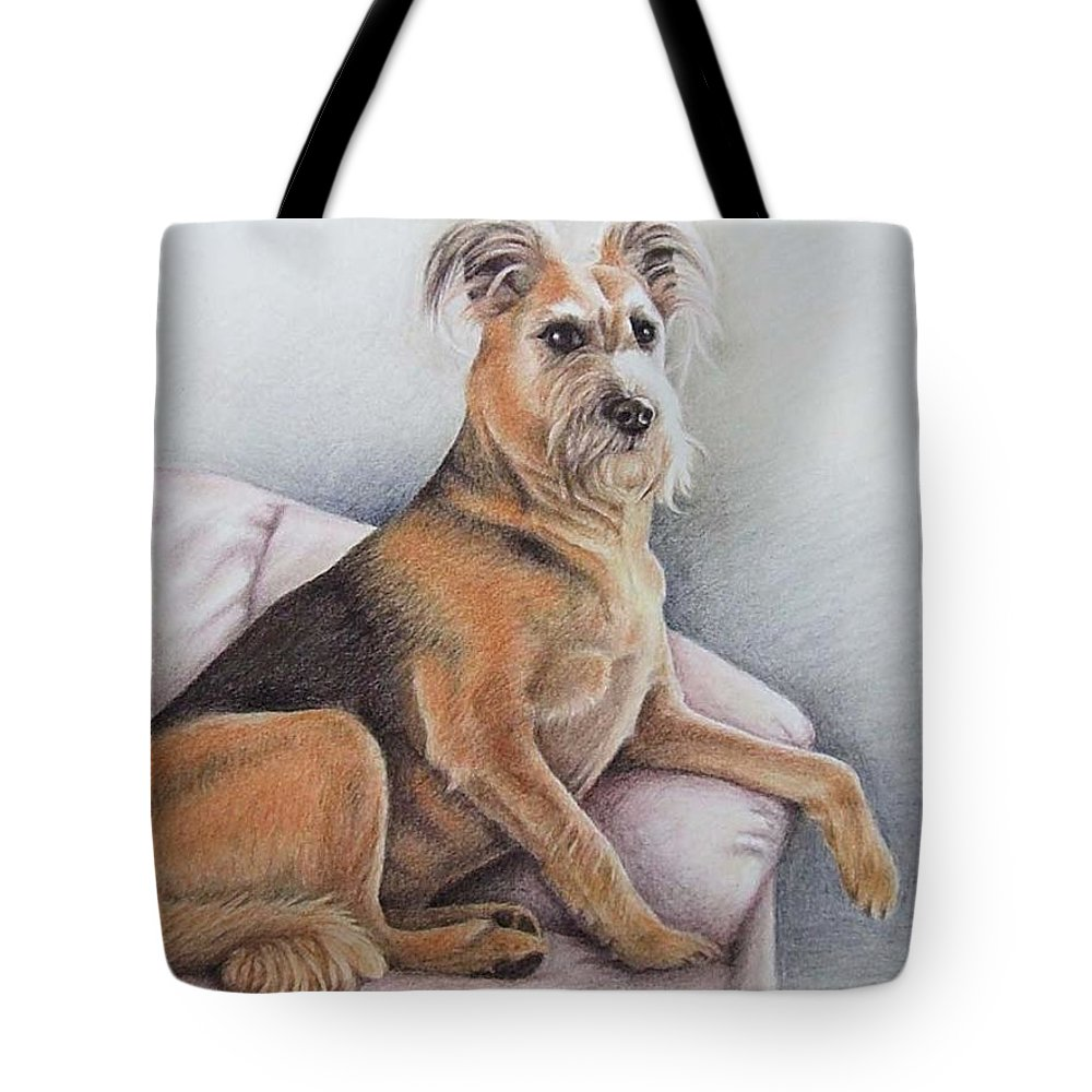 Dog Tote Bag featuring the pastel Lena by Nicole Zeug