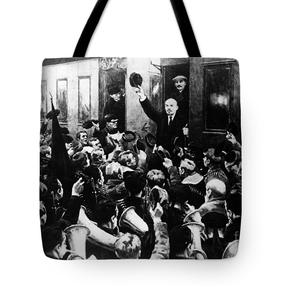 1930s Tote Bag featuring the photograph Lenin At Finland Station by Granger