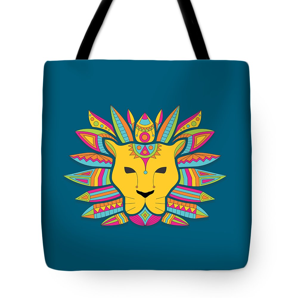 Leo Tote Bag featuring the digital art Leo Zodiac Sign Pattern by Prathamesh Prabhu