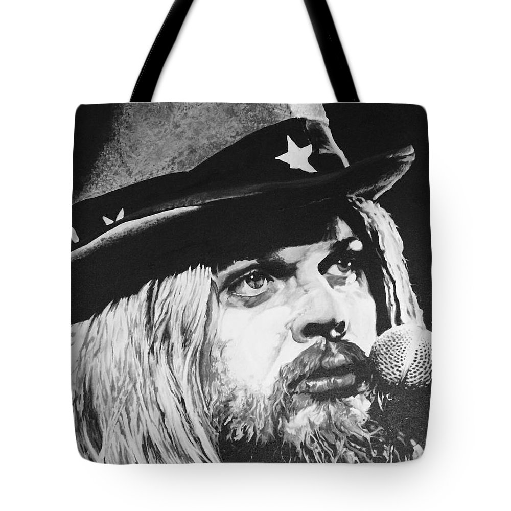 Acrylic Tote Bag featuring the painting Leon Russell Portrait by Amanda Davis