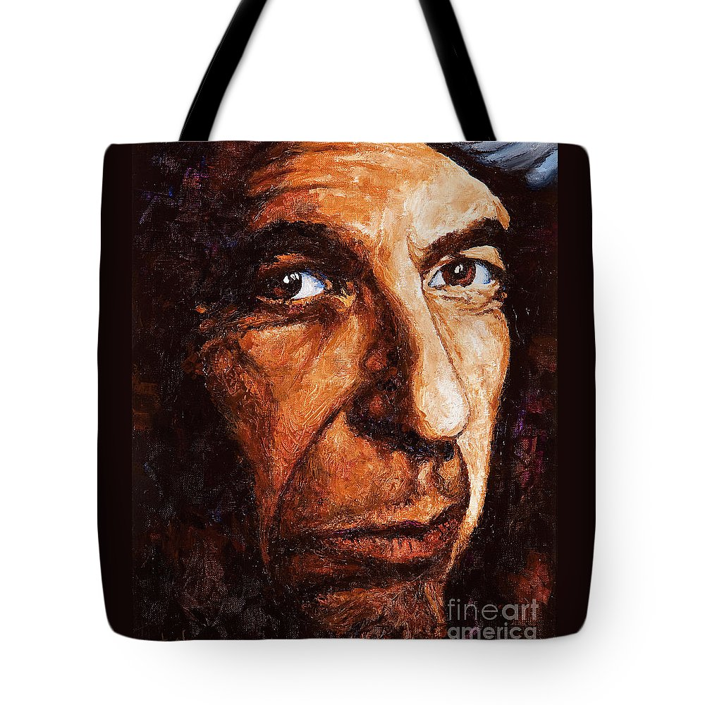 Colorful Tote Bag featuring the painting Leonard Cohen by Igor Postash
