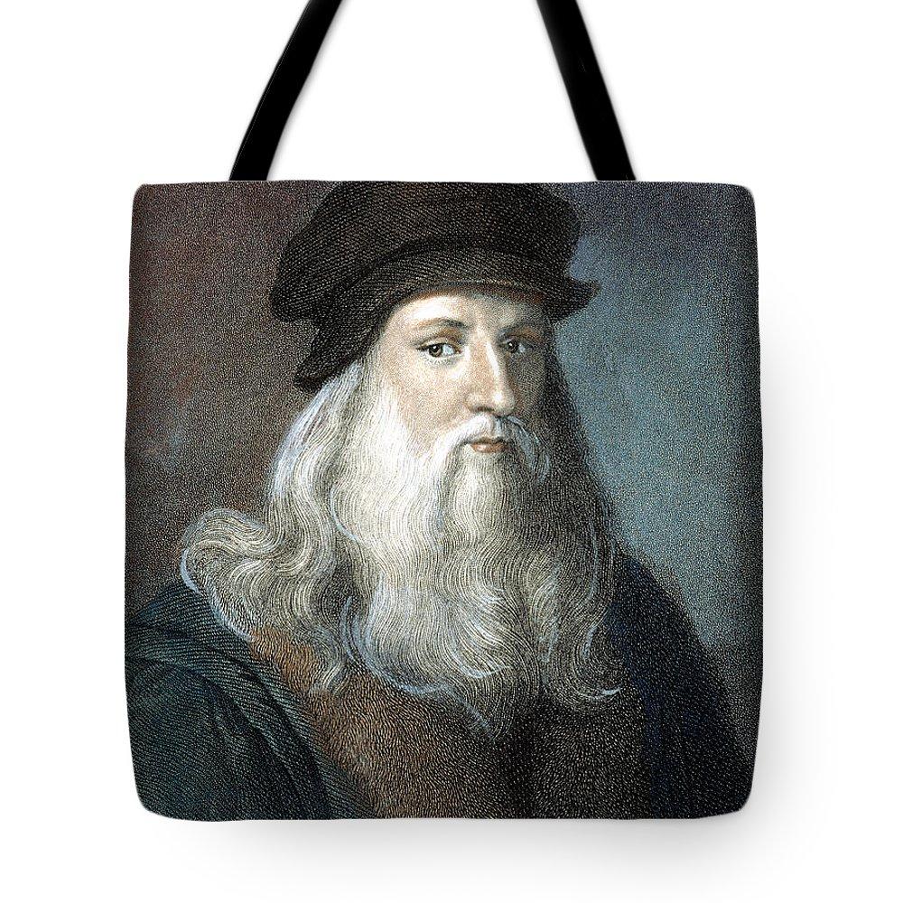 15th Century Tote Bag featuring the photograph Leonardo Da Vinci - To License For Professional Use Visit Granger.com by Granger
