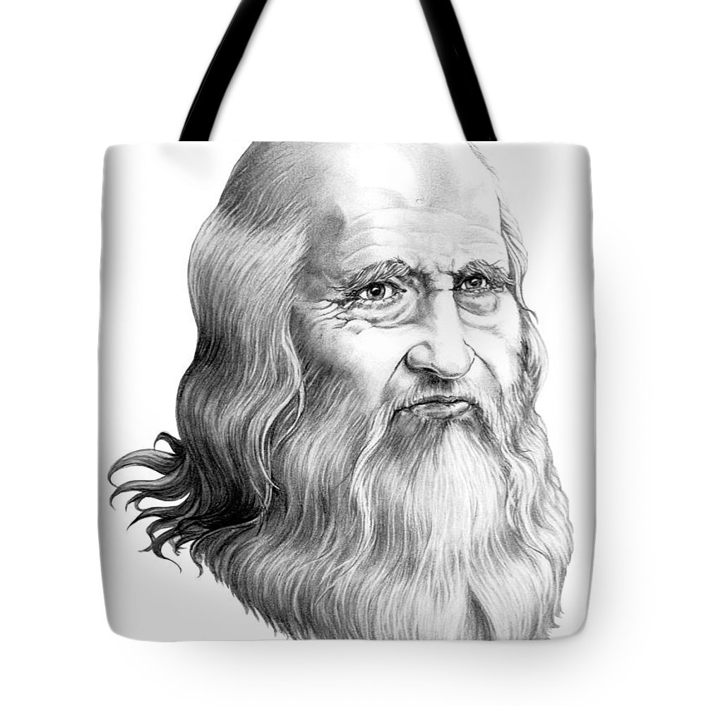 Famous Person Tote Bag featuring the drawing Leonardo Da Vinci by Murphy Elliott