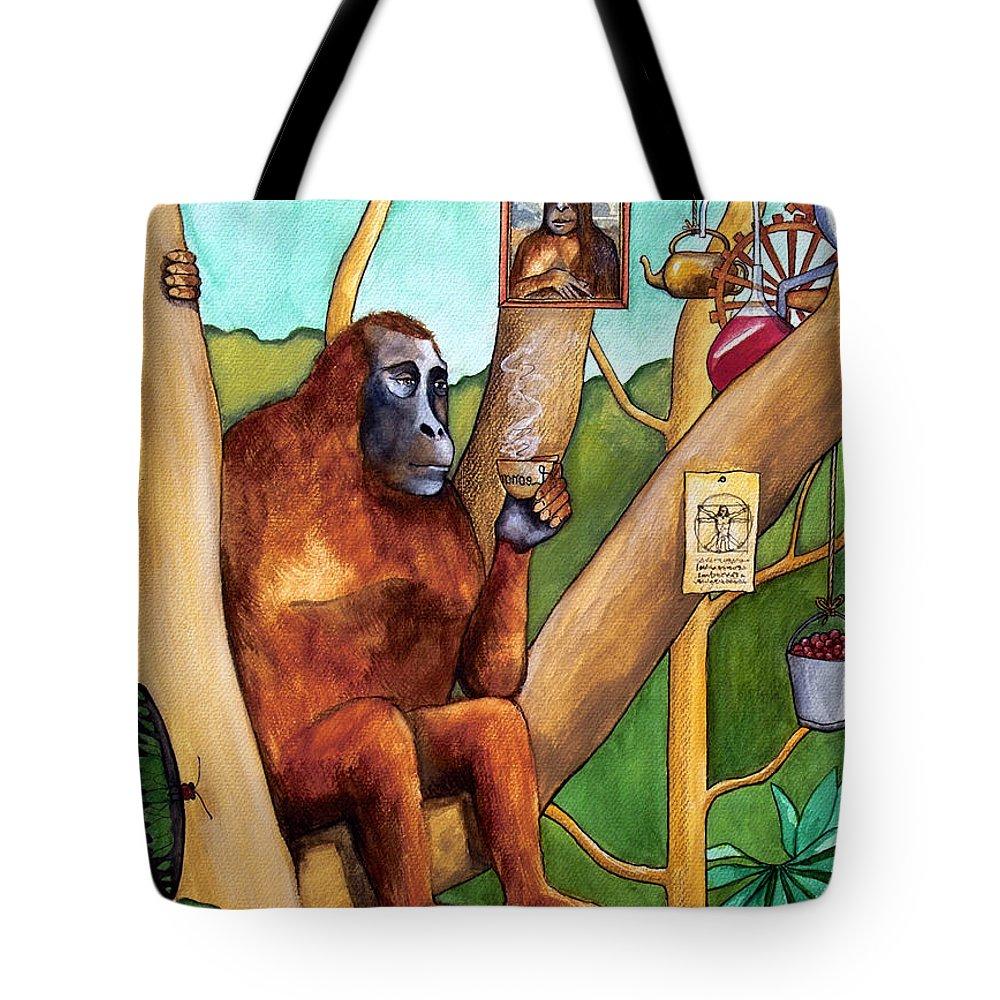 Leonardo Tote Bag featuring the painting Leonardo The Orangutan by Robert Lacy
