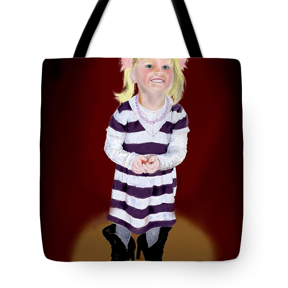 Child Tote Bag featuring the painting Leonies Third Anniversary by Helmut Rottler