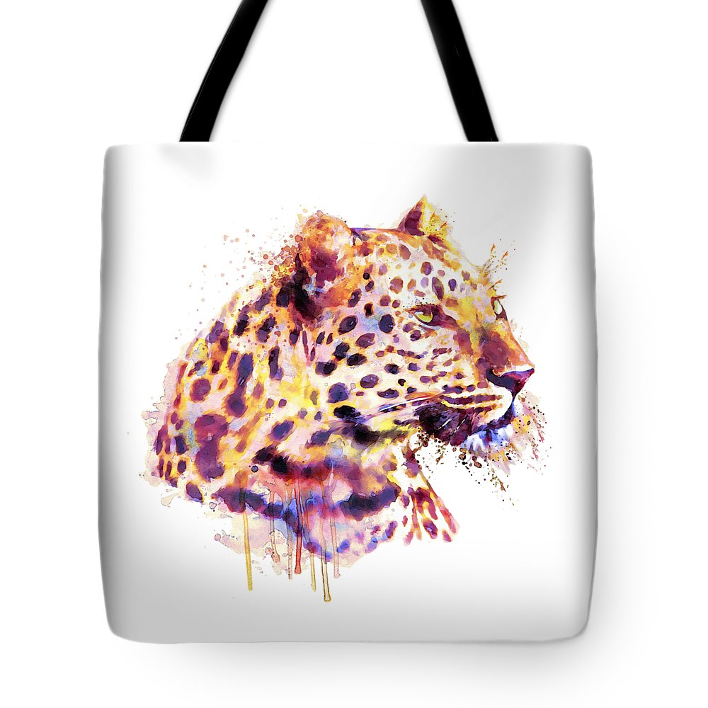 Leopard Tote Bag featuring the painting Leopard Head by Marian Voicu