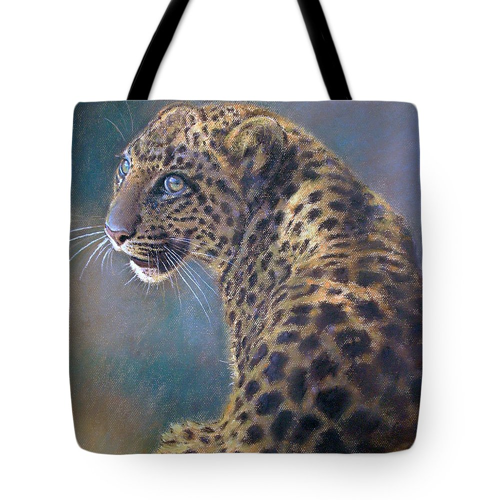 Cats Tote Bag featuring the pastel Leopard by Iliyan Bozhanov