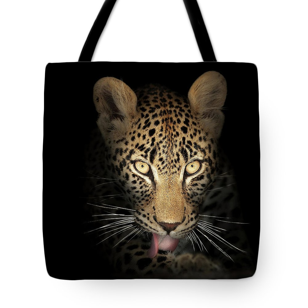 Leopard Tote Bag featuring the photograph Leopard In The Dark by Johan Swanepoel